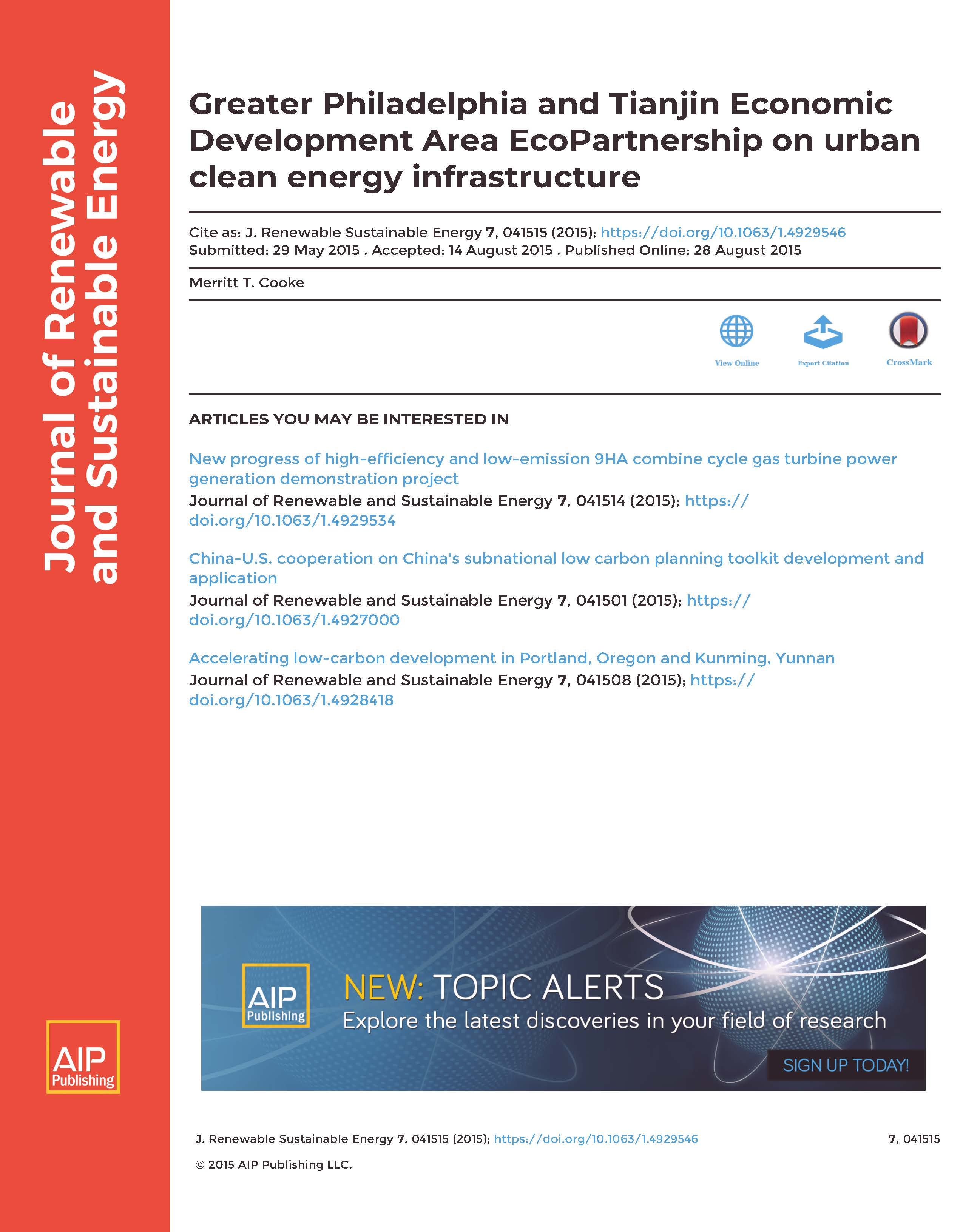 Greater Philadelphia and Tianjin Economic Development Area EcoPartnership on urban clean energy infrastructure